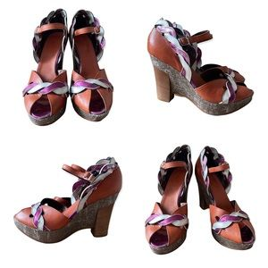 Miss Sixty | Funky Leather Peep Toe Platform Wedges w/ Ankle Strap